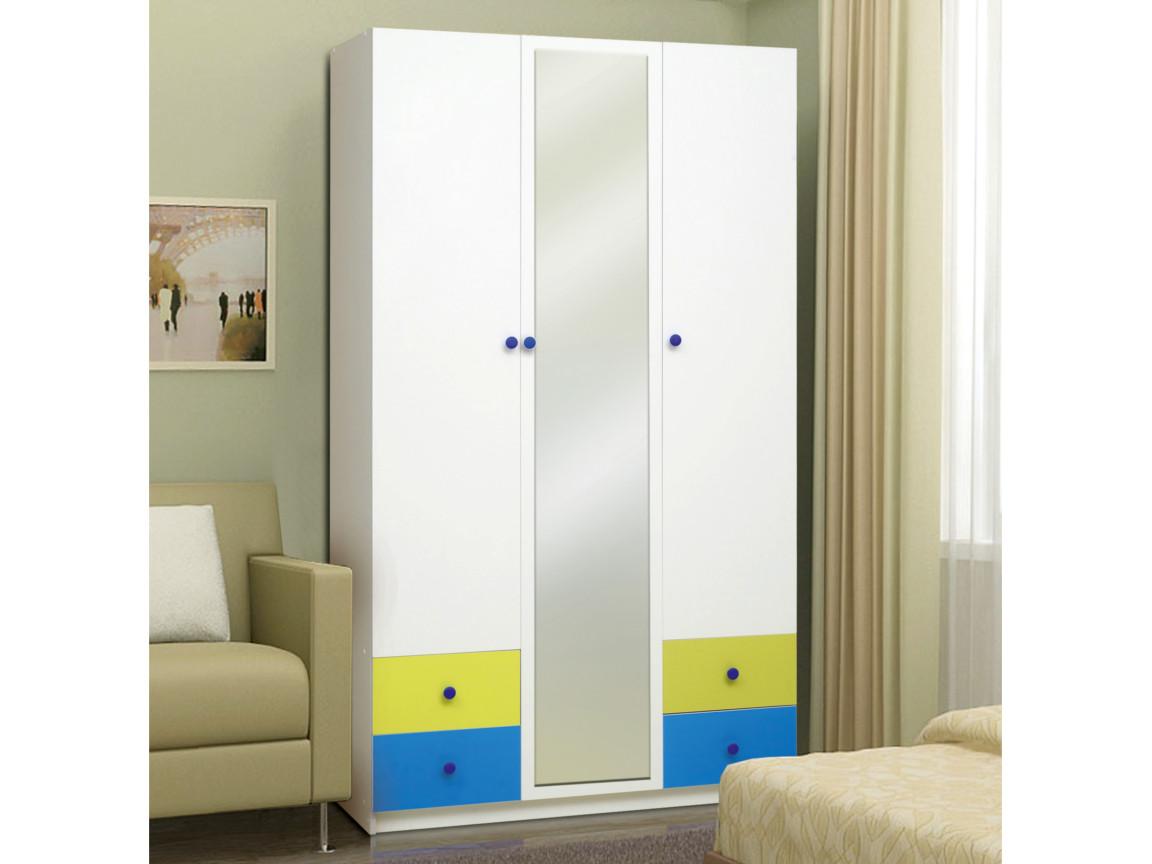 фото Шкаф 3-х дверный с ящиками и зеркалом Радуга