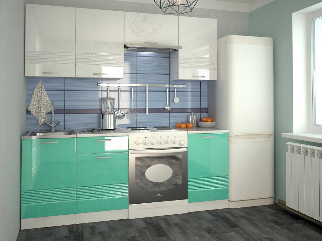 фото Кухонный гарнитур Волна белый металлик бирюза 2100
