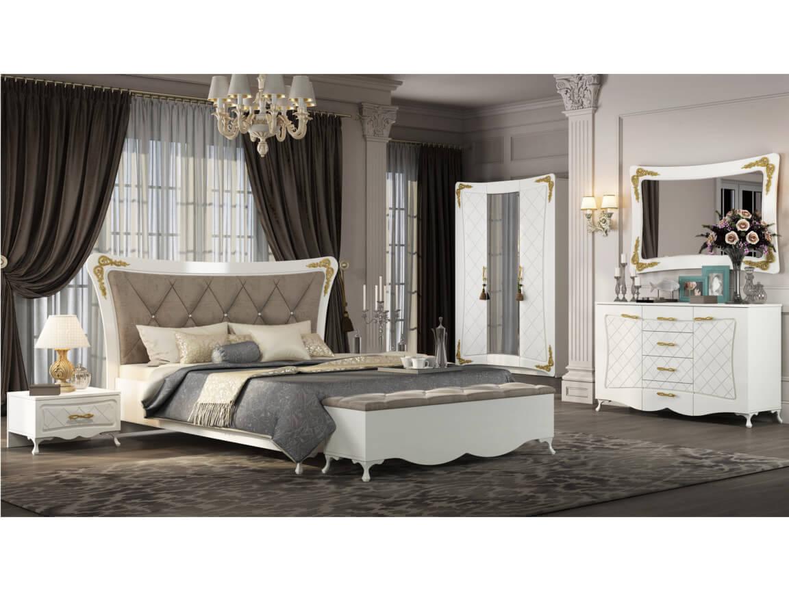 фото Спальня Аделина Белый глянец-Золото