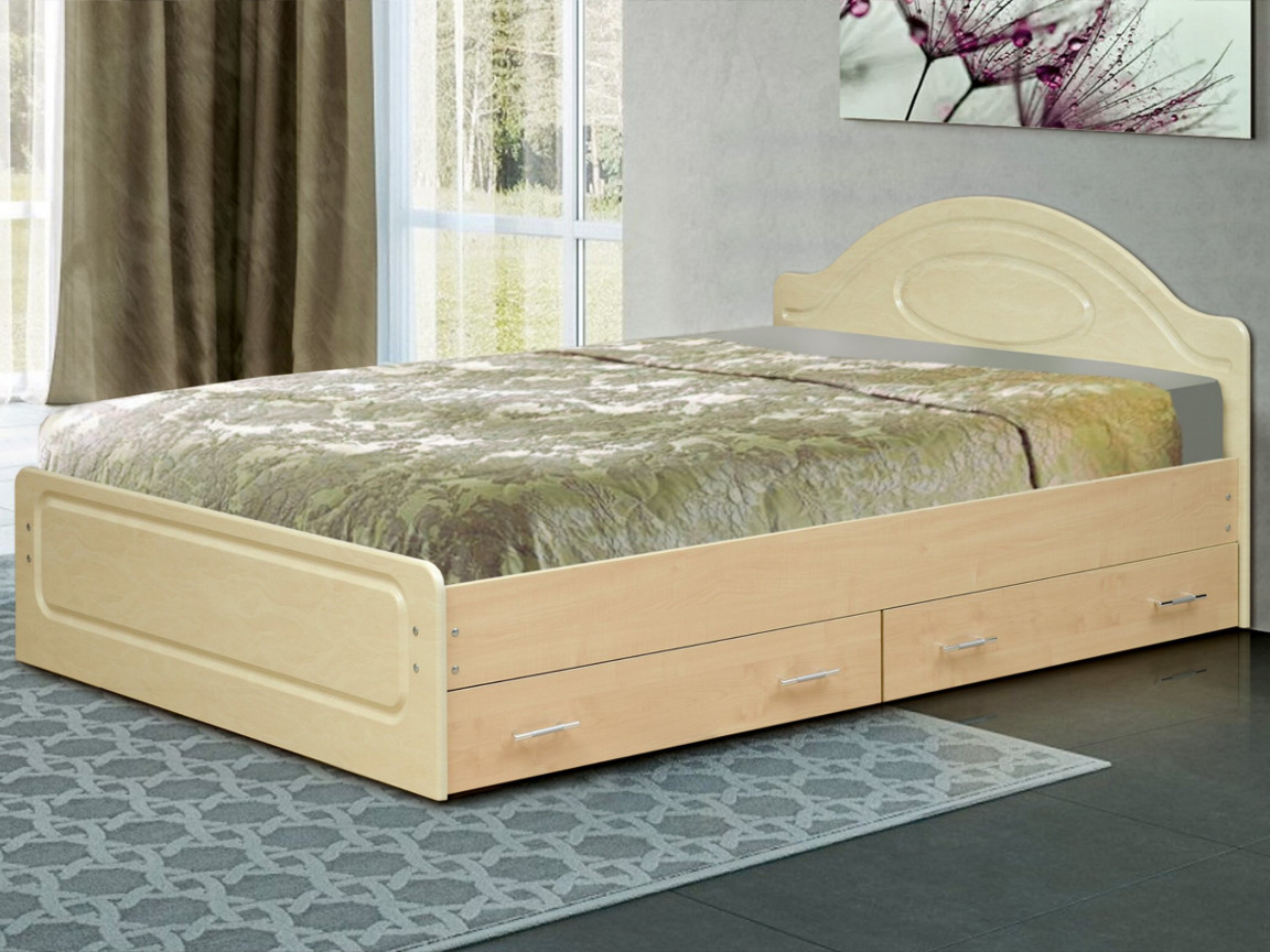 фото Кровать двойная Венеция 1 матовая с ящиками