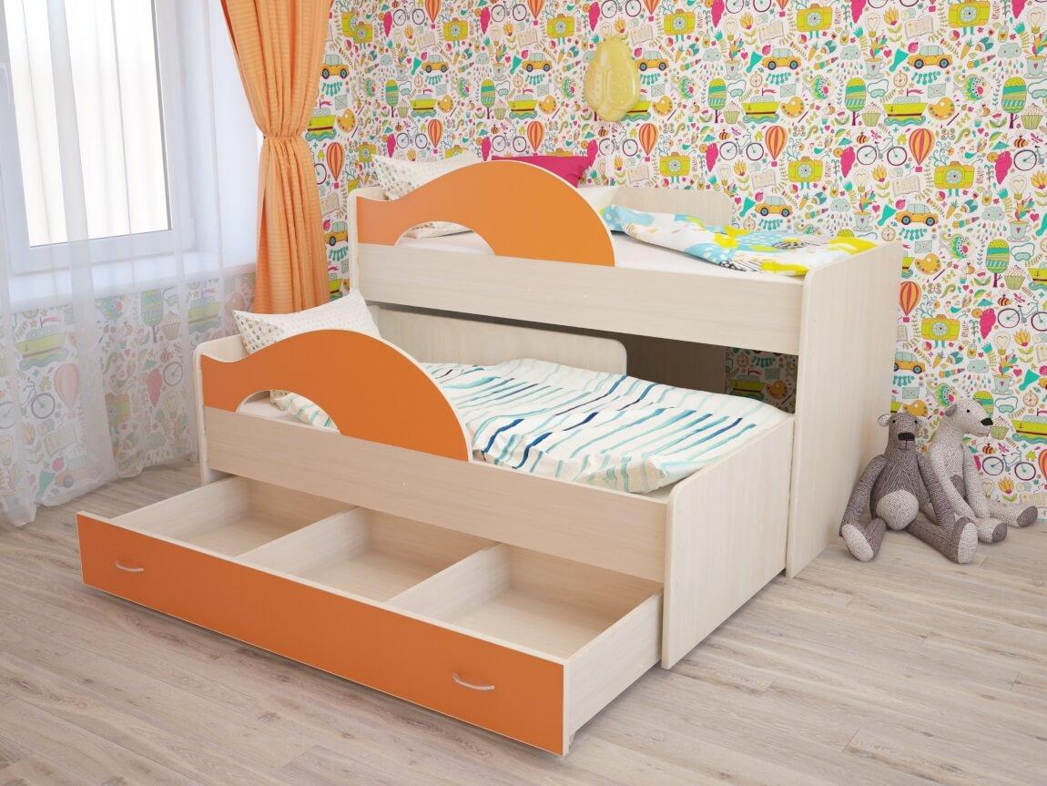 фото Кровать двухъярусная выкатная Матрешка с ящиком дуб-оранж