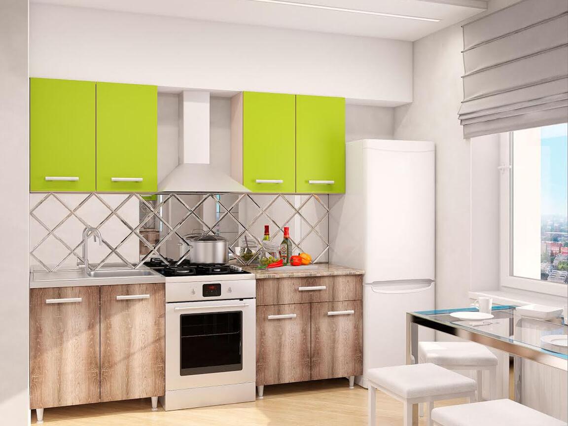 фото Модульная кухня Эконом Лайм-Дуб Сакраменто темный
