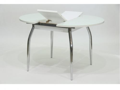 Стол круглый раздвижной со стеклом Гала 3 белый