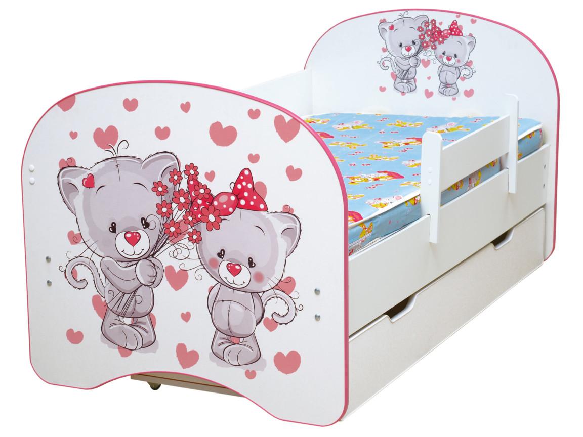 фото Кровать детская с фотопечатью с 1 ящиком Котята