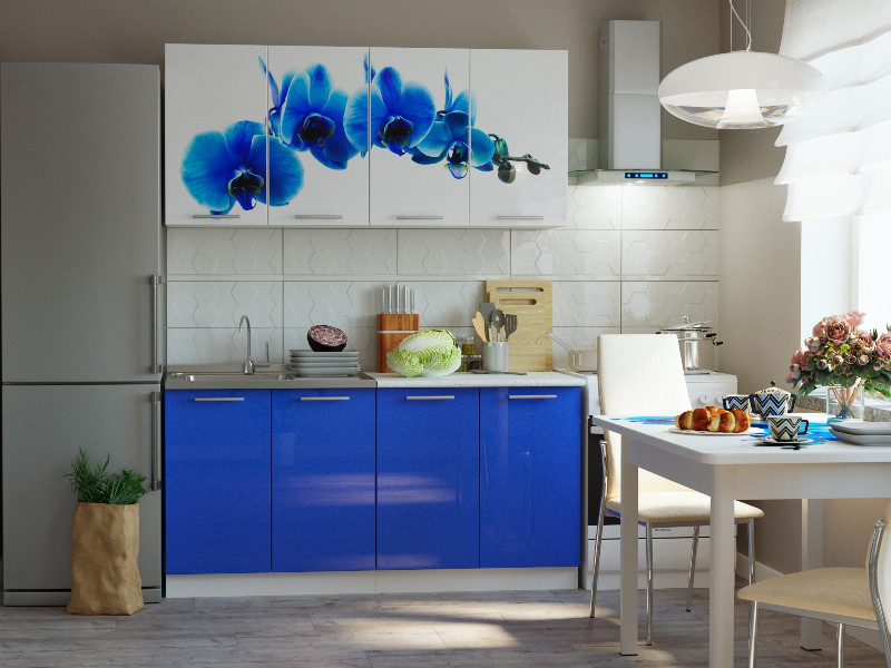 фото Кухонный гарнитур Риал К-28-синий 1600