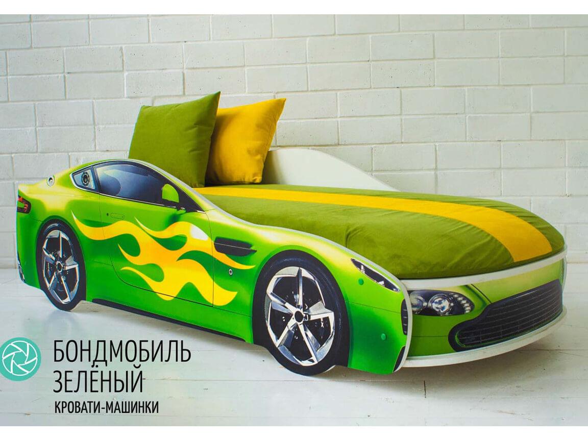 фото Кровать-машина Бондмобиль зеленый
