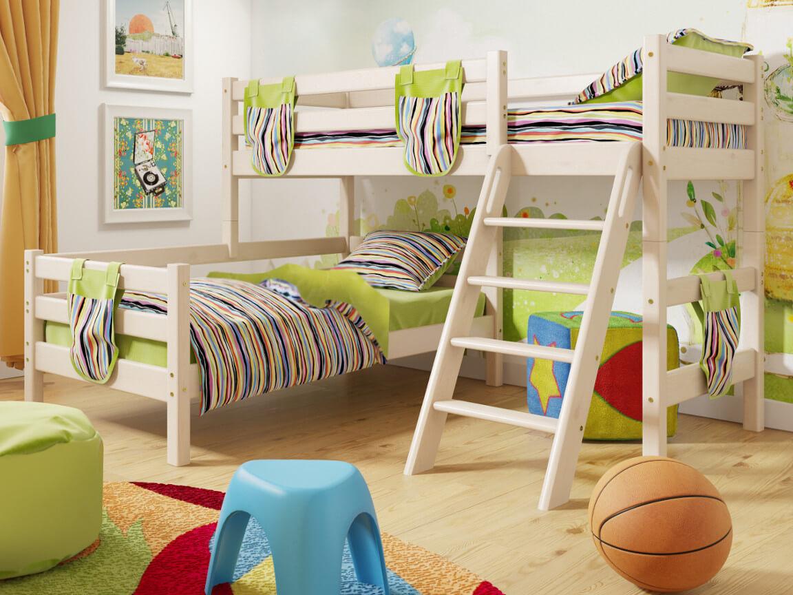 фото Угловая кровать Соня с наклонной лестницей No 8