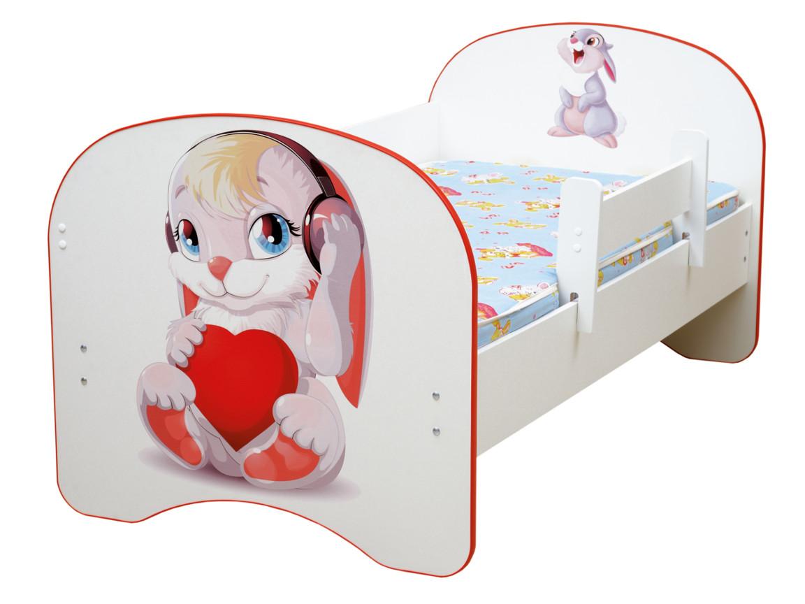 фото Кровать детская с фотопечатью без ящика Зайчата