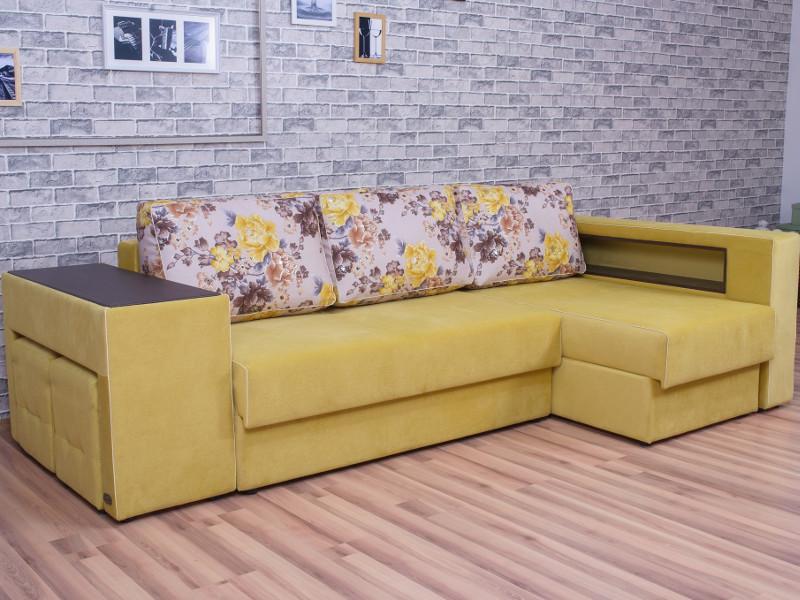 фото Угловой диван Мальта 7 с оттоманкой Flowers 005-Elva mustard