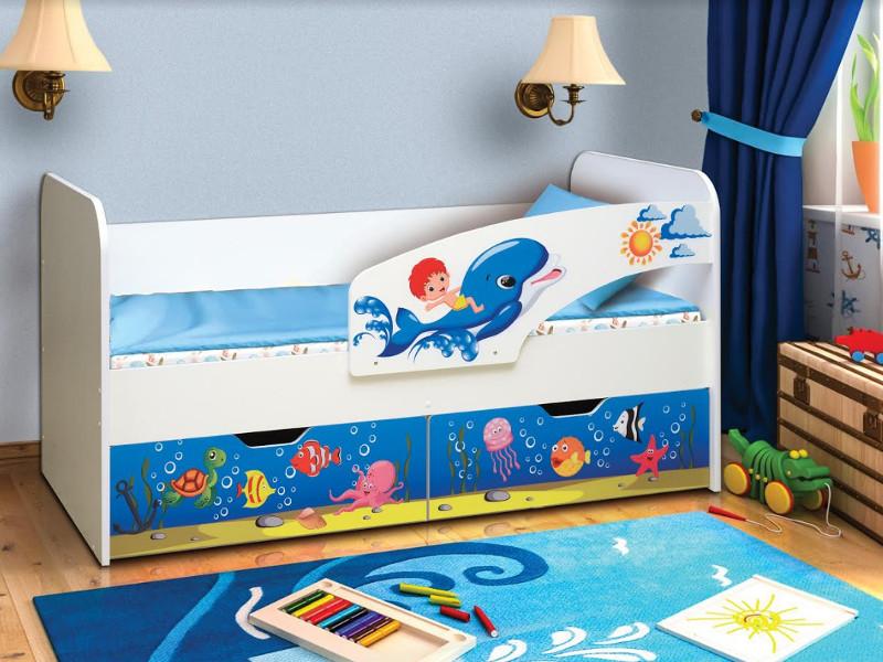 фото Кровать детская с фотопечатью Дельфин