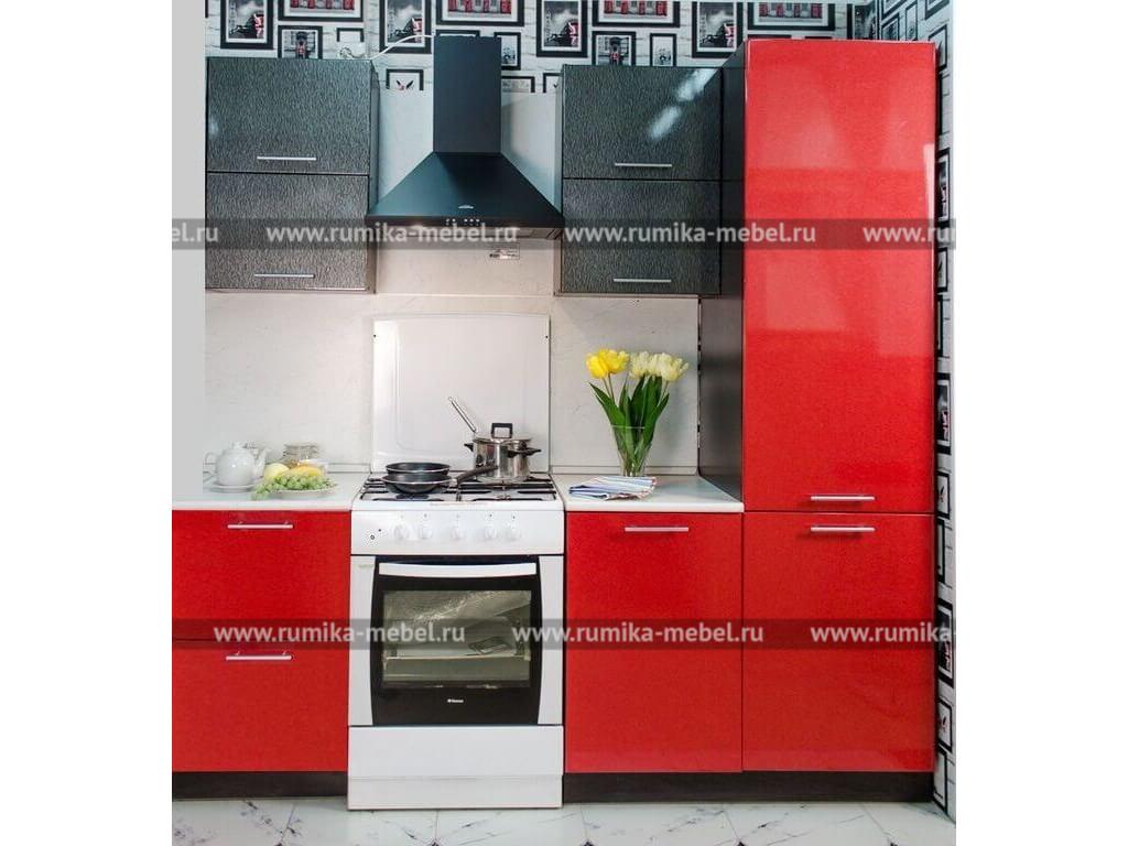 фото Кухня Фантазия красный металлик-огни Нью-Йорка