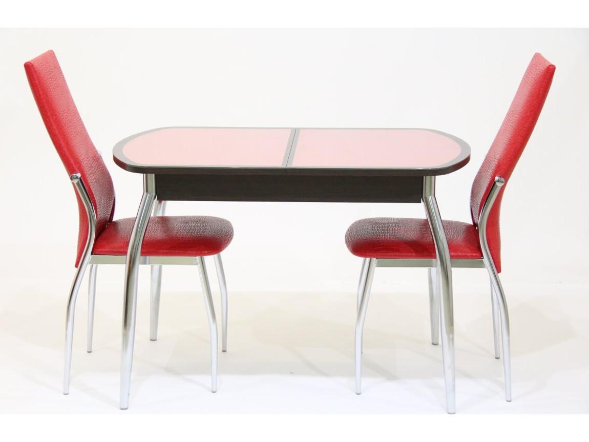 фото Стол раздвижной с красной кожей под стеклом Гала 14