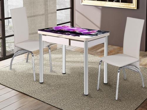 Стол раздвижной со стеклом Ника с ящиком