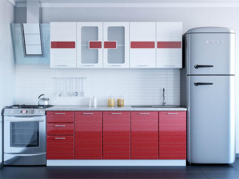 фото Кухня Гамма красный-белый дождь