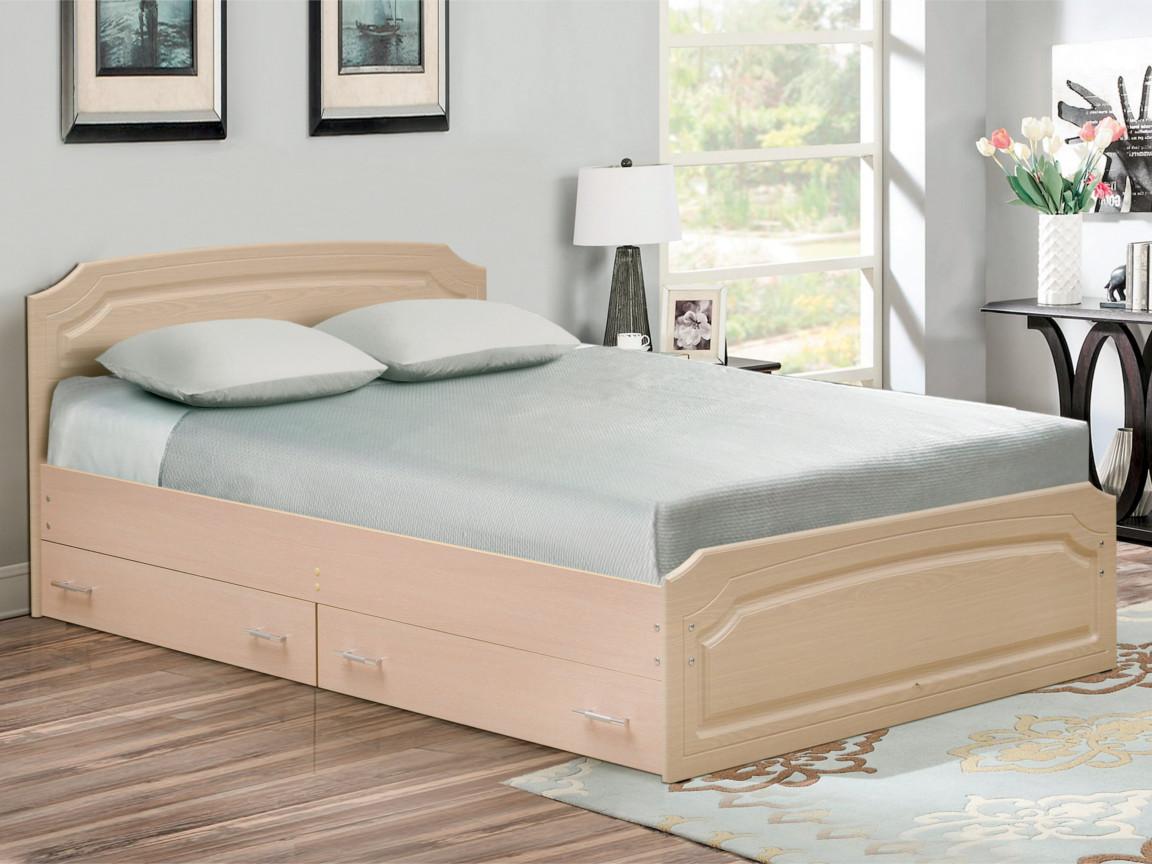 фото Кровать двойная Венеция 3 матовая с ящиками