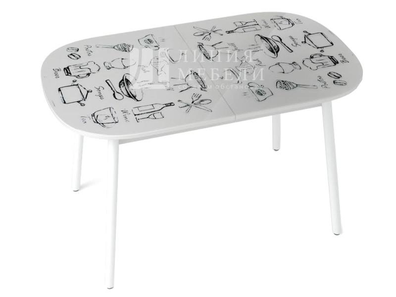 фото Стол обеденный Винтаж белый с рисунком