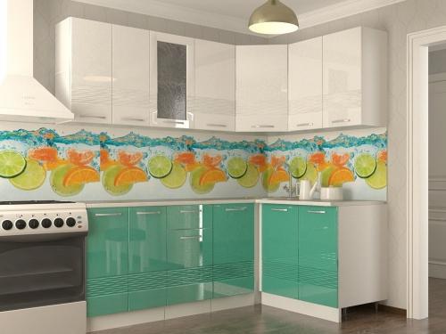 Кухонный гарнитур Волна белый металлик бирюза 2000х1400