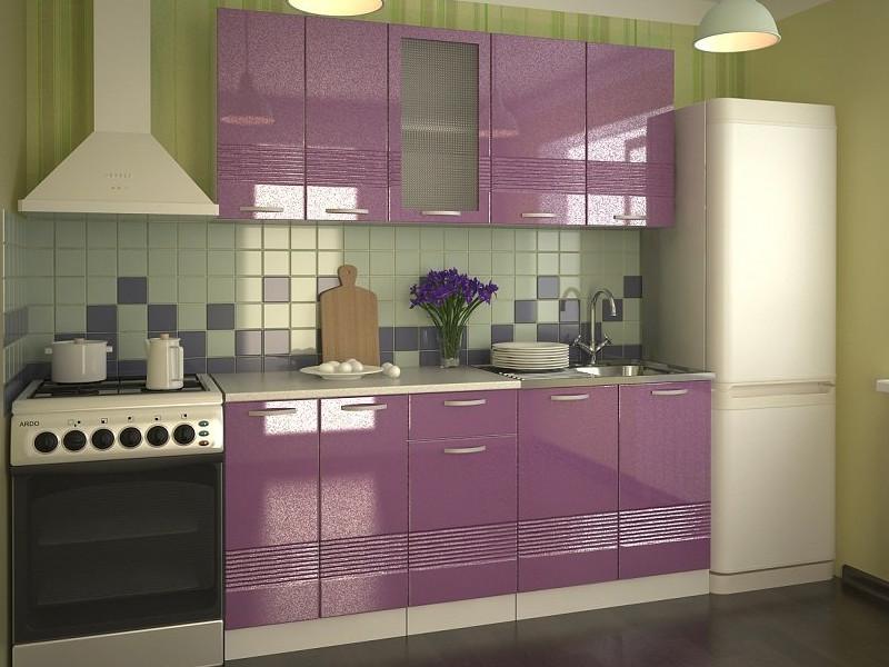 фото Кухонный гарнитур Волна фиолетовый металлик 1800