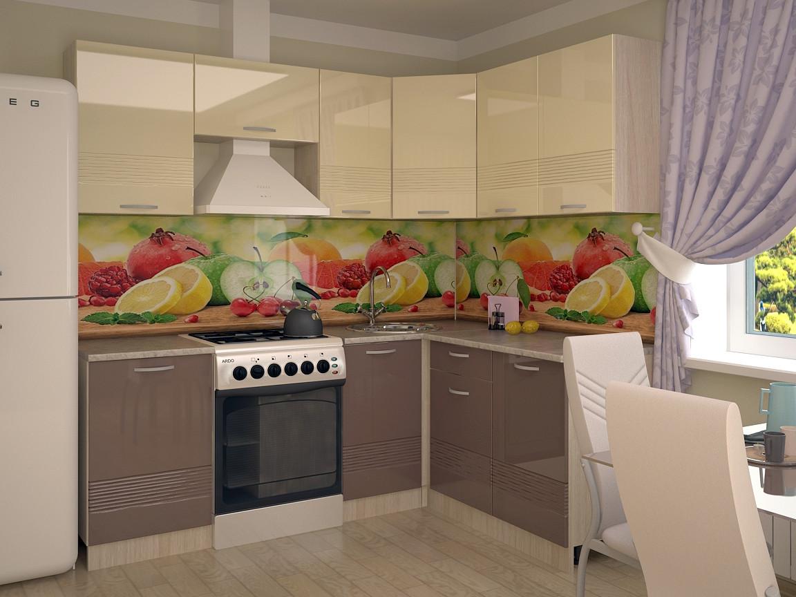 фото Кухонный гарнитур Волна ваниль глянец капучино 2100х1600
