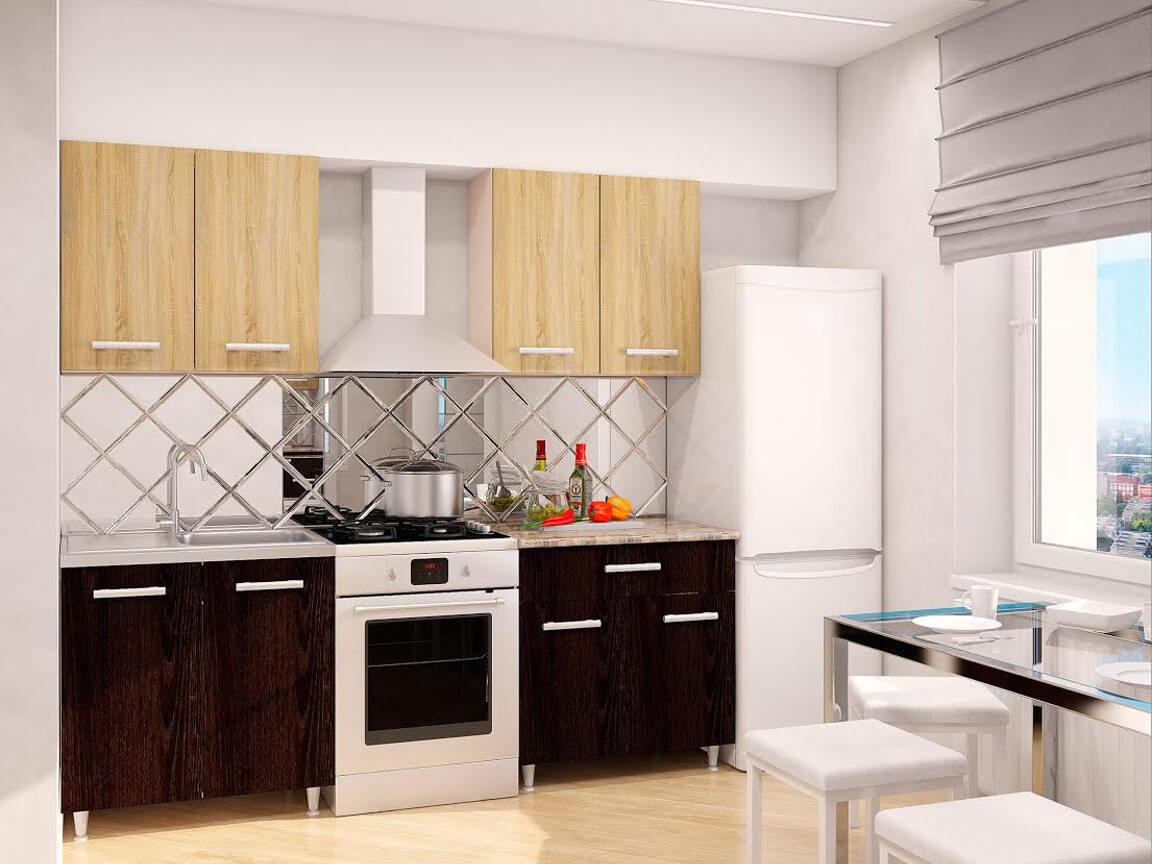 фото Модульная кухня Эконом Дуб Сонома-Дуб Кентерберри темный