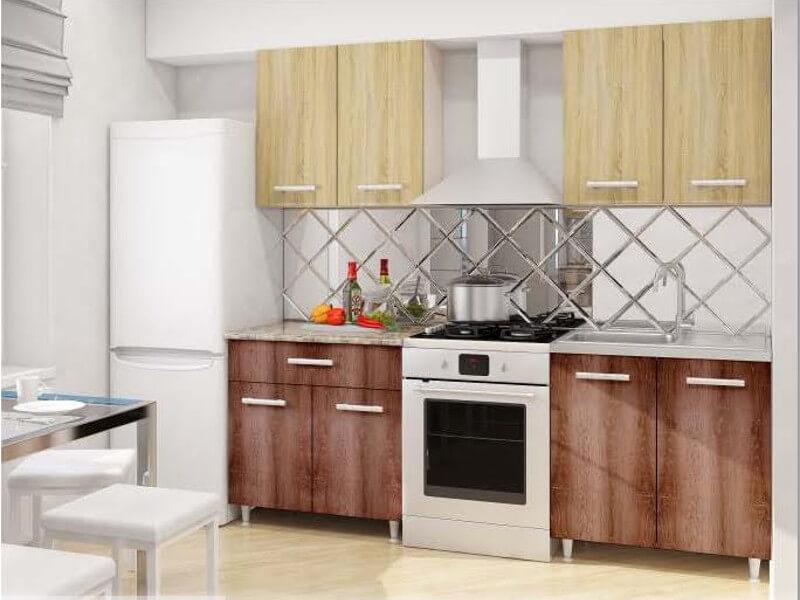 фото Модульная кухня Эконом Дуб Сонома-Дуб Сакраменто темный