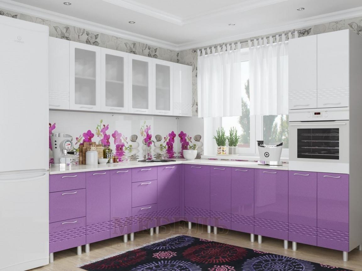 фото Кухня Волна Фиолетовый Металлик