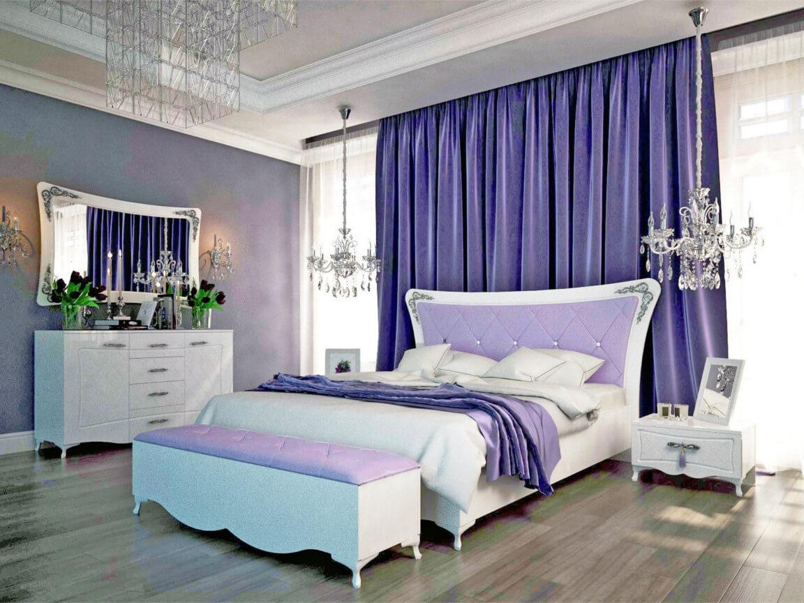 фото Спальня Аделина Белый глянец-Серебро