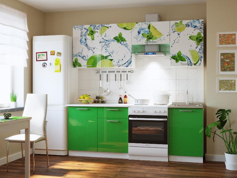фото Кухонный гарнитур Риал 2К-108-зеленый 2100