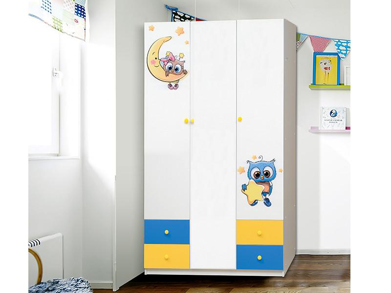 фото Шкаф 3-х дверный с ящиками Совята 3-2