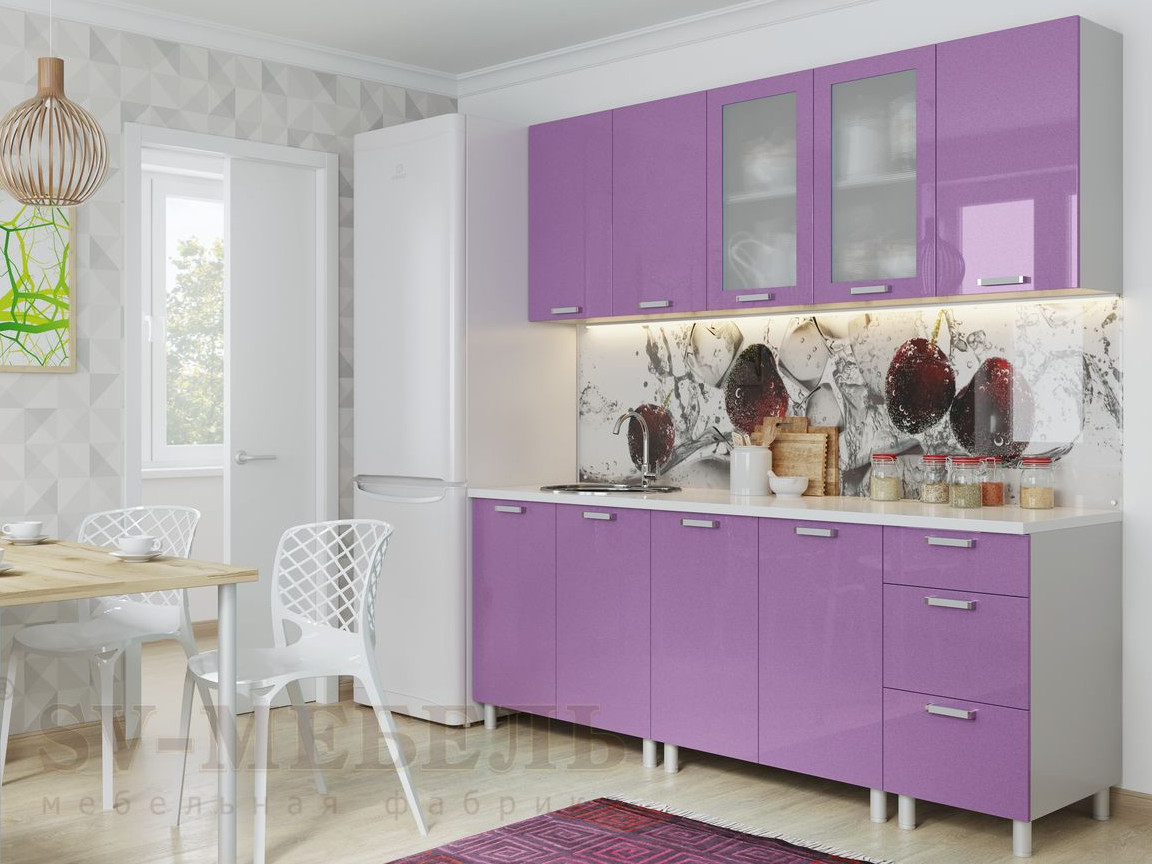 фото Кухня Модерн Фиолетовый Металлик
