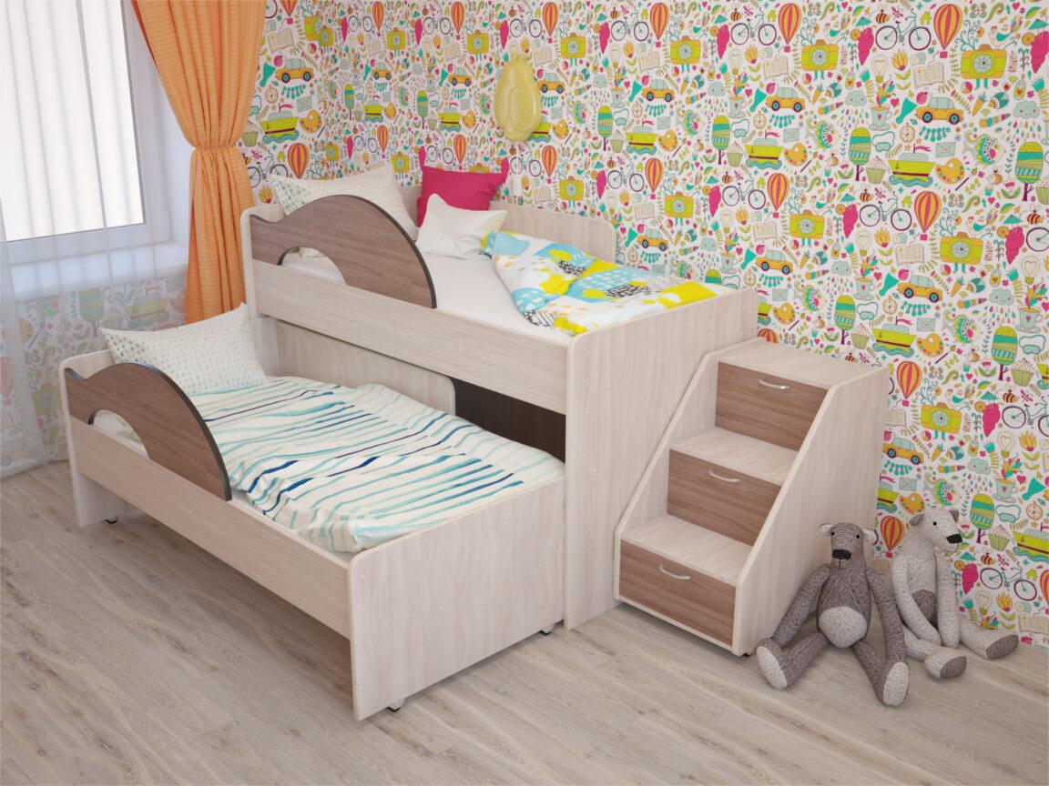 фото Кровать выкатная Матрешка с лесенкой