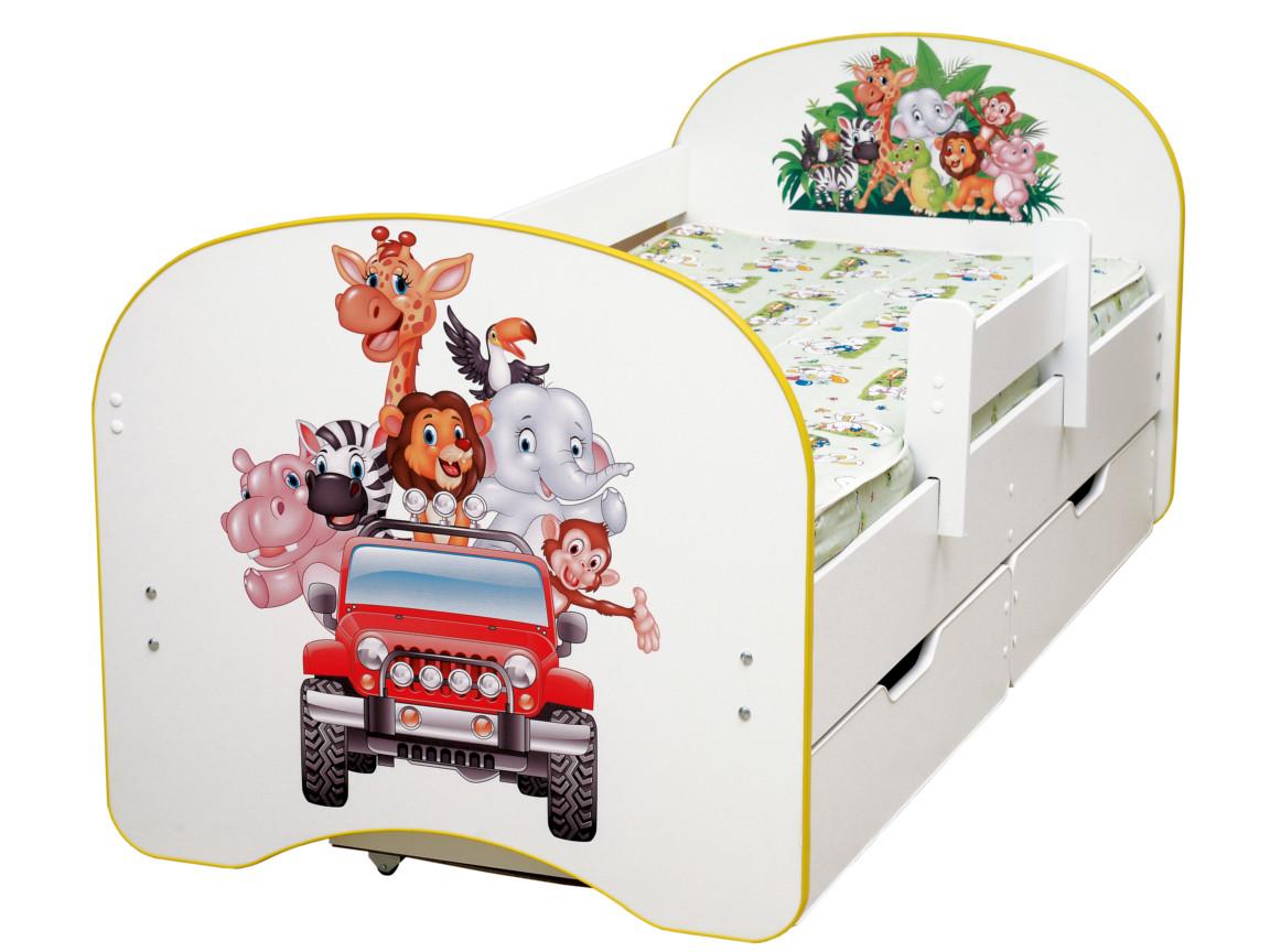 фото Кровать детская с фотопечатью с 2-мя ящиками Зоопарк