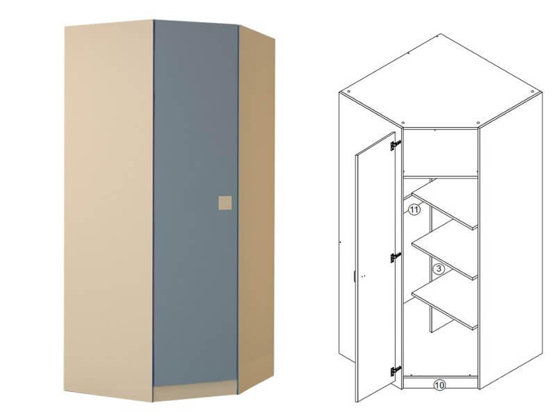 Шкаф угловой 900х2000х900 мм
