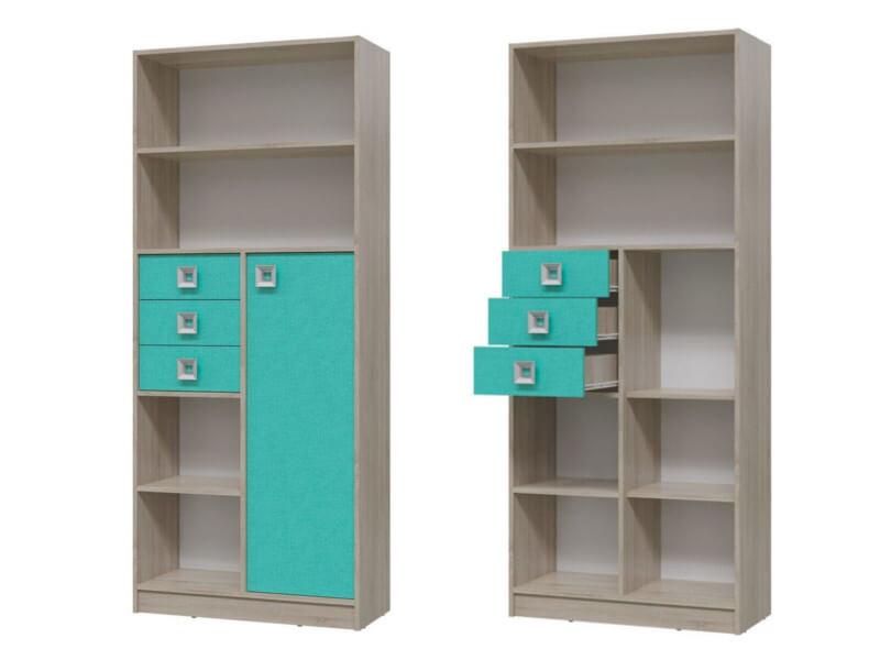 Шкаф стеллаж с дверкой и ящиками 6-9414 1905х800х355 мм