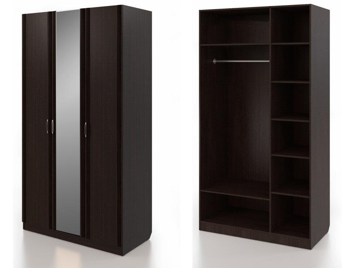 Шкаф для одежды трехдверный с зеркалом 1200х592х2235 мм