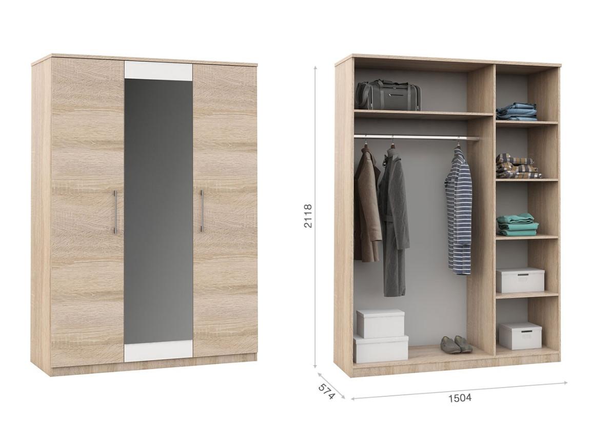 Распашной шкаф 3дв  1504х574х2118 мм