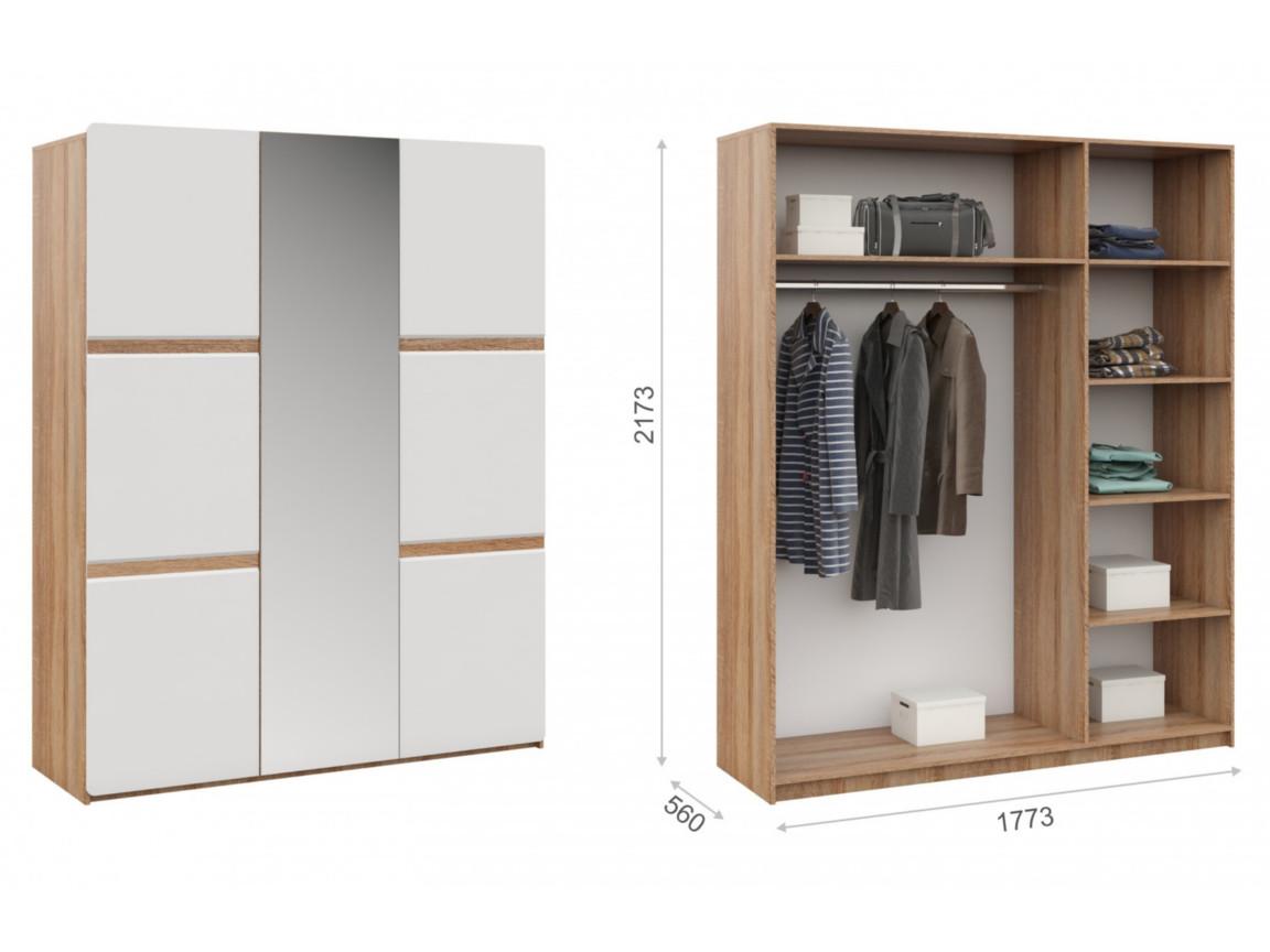 Распашной шкаф 3дв 1773х560х2173 мм