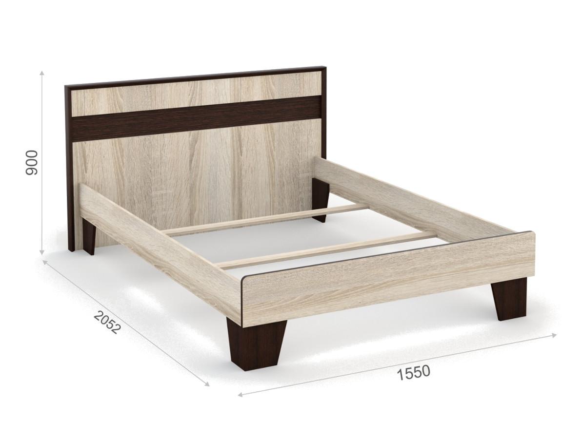 Кровать 140х200 без ламелей 1550х2052х900 мм
