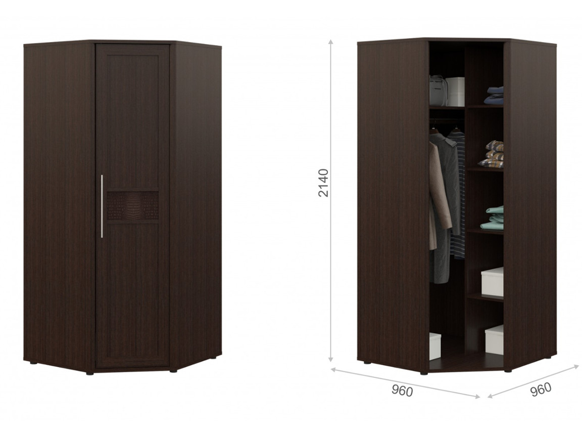 Угловой шкаф без зеркала 960х990х2140 мм
