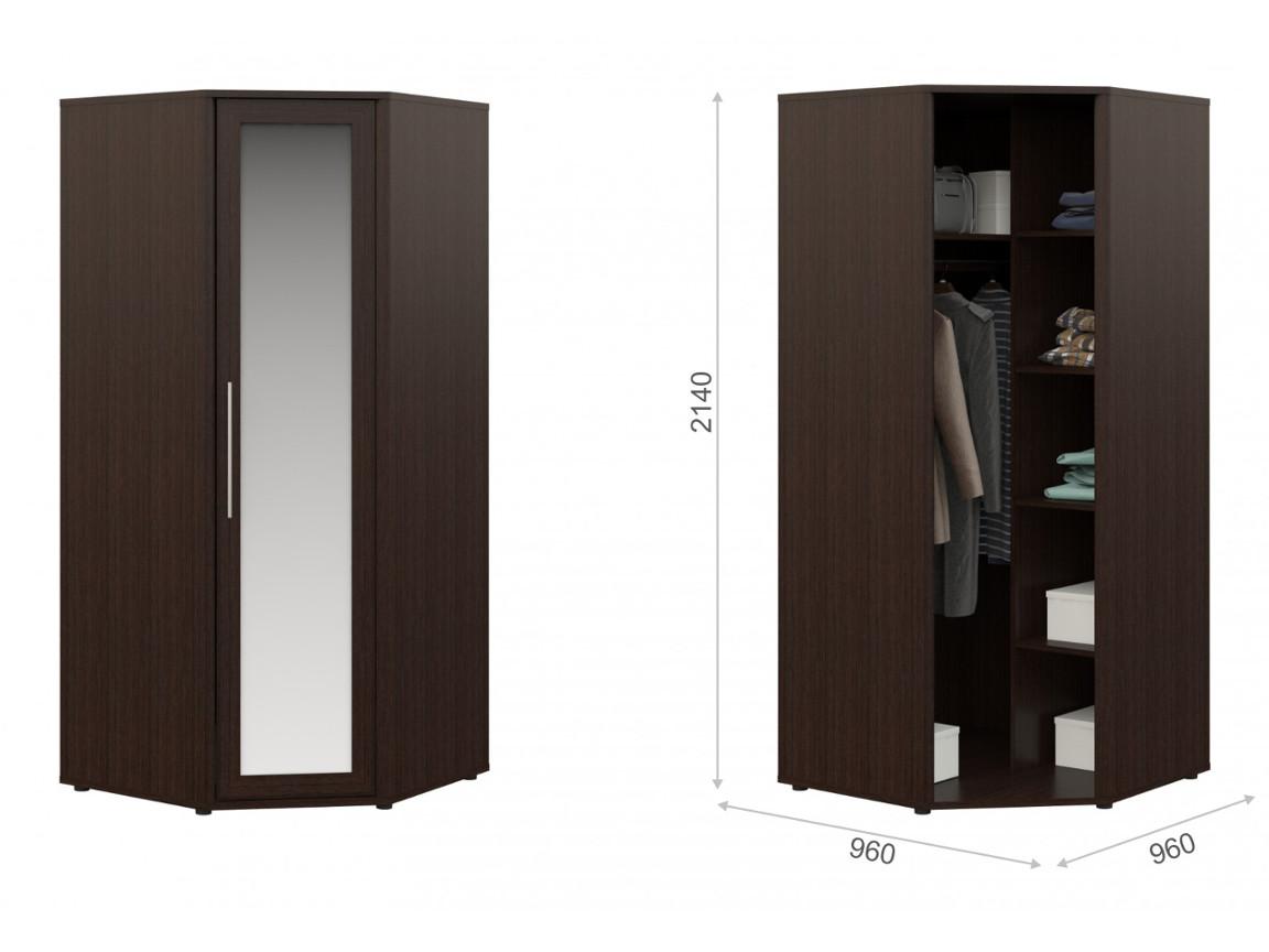 Угловой шкаф с зеркалом 960х990х2140 мм