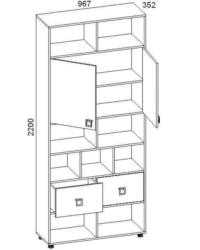 Шкаф-стеллаж с 2-мя дверями 28.04 967х352х2200