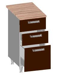 14.23 Стол-шкаф 400 с 3-мя ящиками. Размер 400х600х845