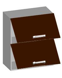 14.06 Шкаф навесной 600 с 2-мя горизонтальными фасадами. Размер 600х320х720