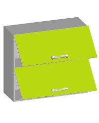 14.13 Шкаф навесной 800 с 2-мя горизонтальными фасадами. Размер 800х320х720