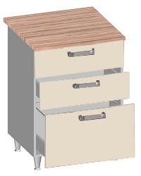14.27 Стол-шкаф 600 с 3-мя ящиками. Размер 600х600х845