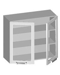 14.09 Шкаф навесной 800 с 2-мя стеклянными фасадами. Размер 800х320х720