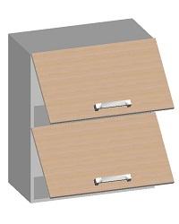 14.06 Шкаф навесной 600 с 2-мя горизонтальными фасадами. Размер 720х600х320