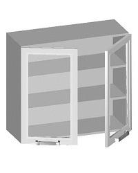 14.09 Шкаф навесной 800 с 2-мя стеклянными фасадами. Размер 720х800х320