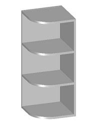 14.15 Шкаф навесной угловой с открытыми полками. Размер 720х300х298
