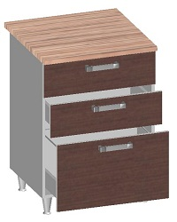 14.27 Стол-шкаф 600 с 3-мя ящиками. Размер 845х600х600